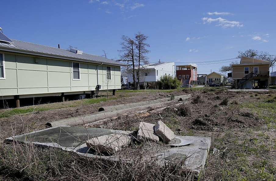 In the Ninth Ward many of the homes are rebuilt on stilts, raised off the ground, in case of another