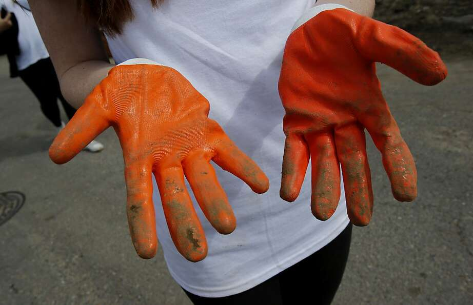Volunteers from Tulane University in New Orleans donned orange gloves and went to work the day befor