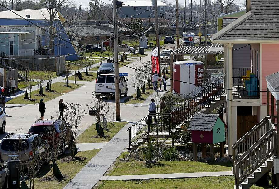 In the Ninth Ward, volunteers and residents gathered on the day before the Super Bowl. In August of 2005, Hurricane Katrina wiped out most of the homes in the Ninth Ward of New Orleans, La. Now nearly eight years later, the community is rebuilding thanks, in part, to volunteers who were out in force the day before the Super Bowl Saturday February 2, 2013. Photo: Brant Ward, The Chronicle