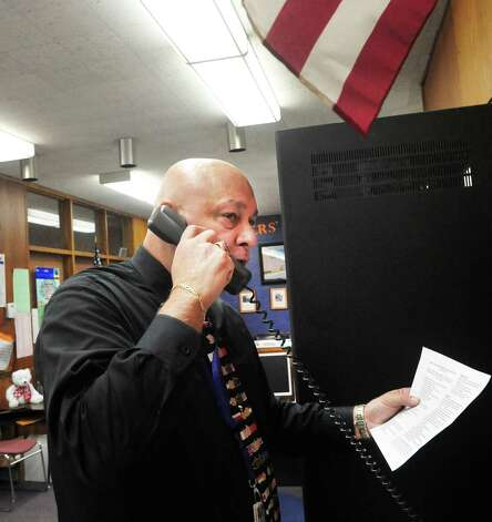 Gary Bocaccio, Danbury High School principal, orders the school locked down during a drill Friday, Feb. 1, 2013. Photo: Michael Duffy / The News-Times