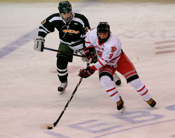 Fairfield Prep's David White, during boys hockey action against Hamden at the Webster Bank Arena in Bridgeport, Conn. on Saturday February 2, 2013. Photo: Christian Abraham / Connecticut Post