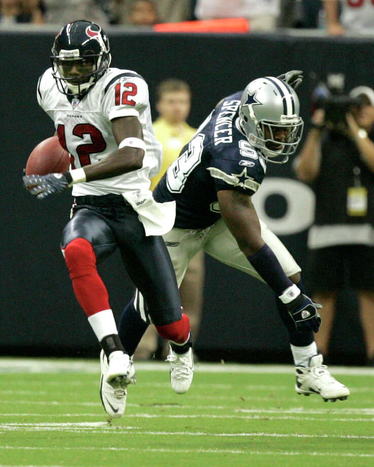 Aug. 25, 2007Rookie receiver Jacoby Jones runs for a 91-yard punt return for a touchdown during a preseason victory over the Dallas Cowboys. Photo: Brett Coomer, Houston Chronicle / Houston Chronicle