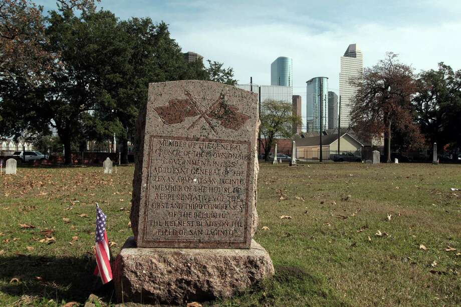 "The grave of John Austin Wharton in Founders Memorial Cemetery, within sight of downtown.  Wharton was eulogized as ""the keenest blade at San Jacinto."" Photo: James Nielsen, Staff / © Houston Chronicle 2013"