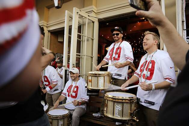 Members of the Niner Noise perform for fans on Decatur Street in New Orleans on Saturday. 49ers fans poured out on the streets in New Orleans, La., on Saturday, February 2, 2013, the day before the 49ers played in Super Bowl XLVII Photo: Carlos Avila Gonzalez, The Chronicle
