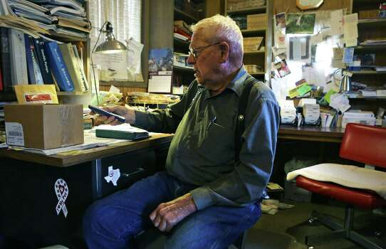 Jim Haynie, a neighbor and friend of Walter Wesley Ellebracht Sr, sits in his home office where he runs his water well drilling business.  Ellebracht Sr. is the grandfather of Walter Wesley Ellebracht III, who was killed in an automobile accident Jan. 20 on Highway 290 just out side Fredericksburg. He was just a young boy when his father and grandfather were arrested and their so-called Texas Slave Ranch was raided in 1984. Tuesday, Jan. 29, 2013, Photo: Bob Owen, San Antonio Express-News / © 2012 San Antonio Express-News