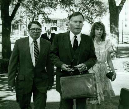 """In the background is Walter Wesley Ellebracht Sr. in front to the left is Walter Wesley Ellebracht Jr. in the middle is Richard """"Race Horse"""" Haynes and to the left is Joyce Ellebracht. Photo: San Antonio Express-News"""