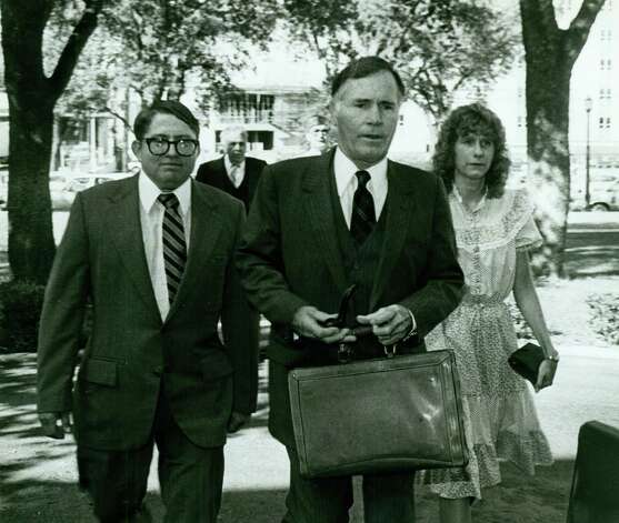"In the background is Walter Wesley Ellebracht Sr. in front to the left is Walter Wesley Ellebracht Jr. in the middle is Richard ""Race Horse"" Haynes and to the left is Joyce Ellebracht. Photo: San Antonio Express-News"