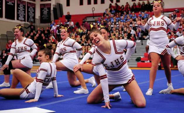 St. Joseph High School competes in the FCIAC cheerleading championships Saturday, Feb. 2, 2013 at Fairfield Warde High School in Fairfield, Conn. Photo: Autumn Driscoll / Connecticut Post