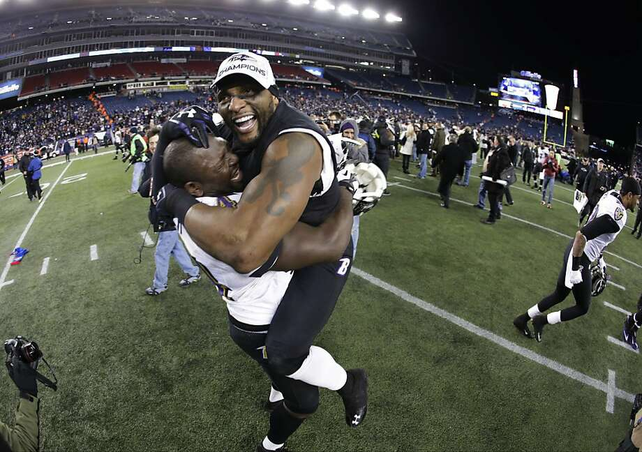 Ray Lewis (right) has Vonta Leach and the Ravens believing they'll prevail with their special aura. Photo: Matt Slocum, Associated Press