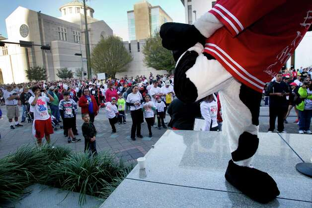 A Chick-Fil-A cow leads warm-up exercises before the 8th Annual Steps for Students 5K Run/Walk Saturday, Feb. 2, 2013, in Houston. Photo: Brett Coomer, Houston Chronicle / © 2013 Houston Chronicle