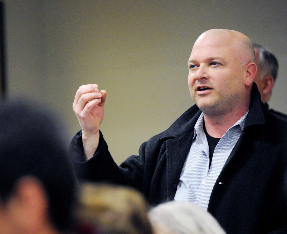 Byram Neighborhood Association Chairman Michael Bocchino makes a point during a Pemberwick-Glenville Association forum Feb. 29, 2012. Photo: Bob Luckey / Greenwich Time