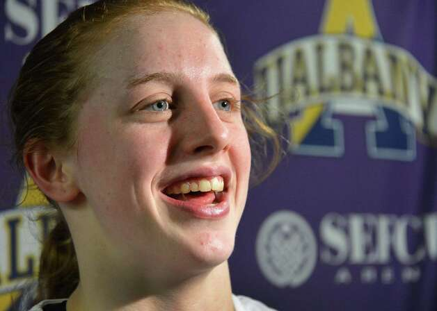 UAlbany's Julie Forster speaks with the media after scoring her 1000th point during a game against Binghamton at SEFCU arena in Albany Saturday Feb. 2, 2013.  (John Carl D'Annibale / Times Union) Photo: John Carl D'Annibale