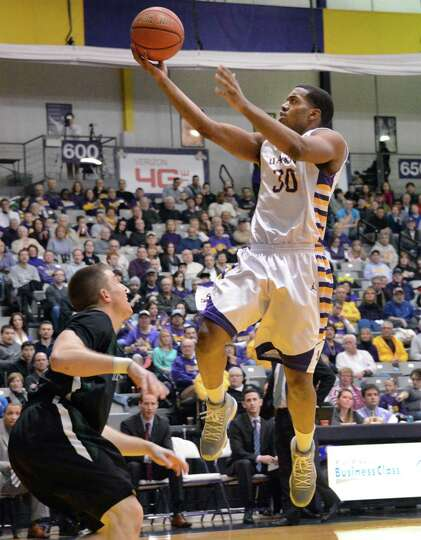 UAlbany's #30 Jayson Guerrier scores two against Binghamton during Saturday's game at SEFCU arena in