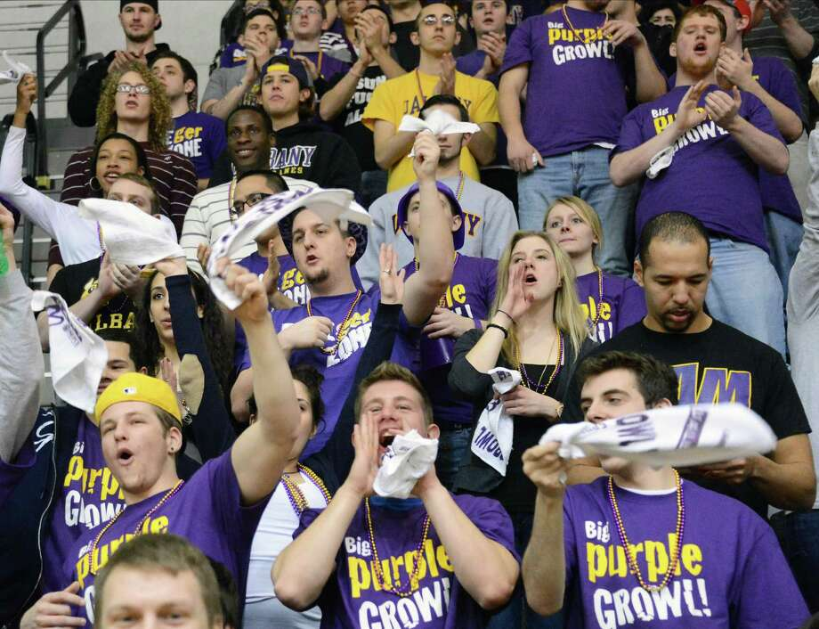 UAlbany fans cheer during Saturday's game against Binghamton at SEFCU arena in Albany  Feb. 2, 2013.  (John Carl D'Annibale / Times Union) Photo: John Carl D'Annibale / 00020948A
