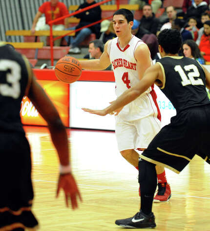 Sacred Heart's #4 Phil Gaetano, during men's basketball action against Bryant at Sacred Heart University in Fairfield, Conn. on Thursday January 24, 2013. Photo: Christian Abraham / Connecticut Post