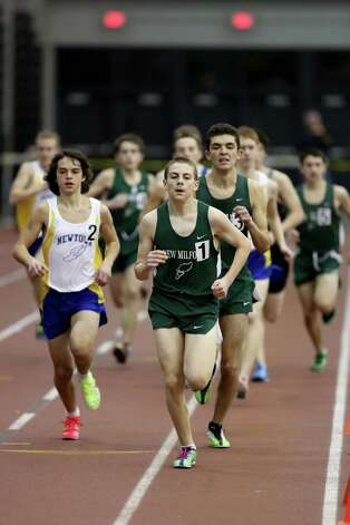Mike Ross Connecticut Post freelance -New Milford's Jonathan Davis leads the pack at the start of the  boys 1000 Meter Run on Saturday at the  SWC Indoor Track Championship. Photo: Mike Ross / @www.mikerossphoto.com
