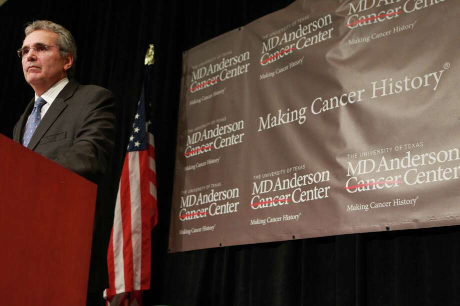"""Dr. Ronald DePinho, president of the University of Texas M.D. Anderson Cancer Center announces the 'moonshot' effort, a $3 billion effort to lower the death rate and find cures for eight specific forms of cancer during a press conference at the M.D. Anderson's F. O'Neil Griffin Conference and Education Center Friday, Sept. 21, 2012, in Houston.  The University of Texas MD Anderson Cancer Center in Houston expects to spend as much as $3 billion on the project over the next 10 years and already has """"tens of millions"""" of dollars in gifts to jump start it now, said DePinho. The Houston cancer center treats 112,000 patients a year and has been building a database of tumor samples and their genetic characteristics, especially of breast and ovarian cancers. ( Johnny Hanson / Houston Chronicle ) Photo: Johnny Hanson, Staff / © 2012  Houston Chronicle"""