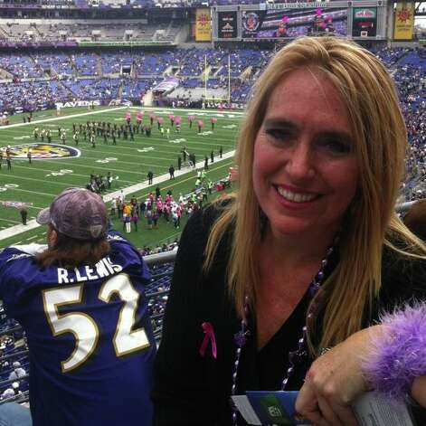 Bettina Dill, a Baltimore Ravens season ticket holder from Guilderland, in her seat at M&T Bank Stadium in Baltimore earlier this season. (Bettina Dill)