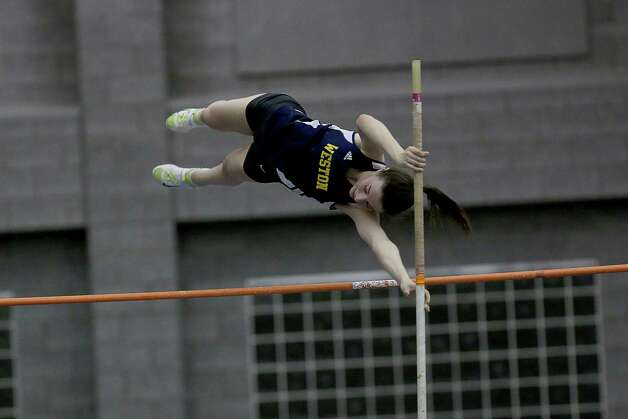 Mike Ross Connecticut Post freelance -Weston's Jane Wall in the Pole Vault competitions during Saturday's SWC Indoor Track Championship in New Haven. Photo: Mike Ross / @www.mikerossphoto.com