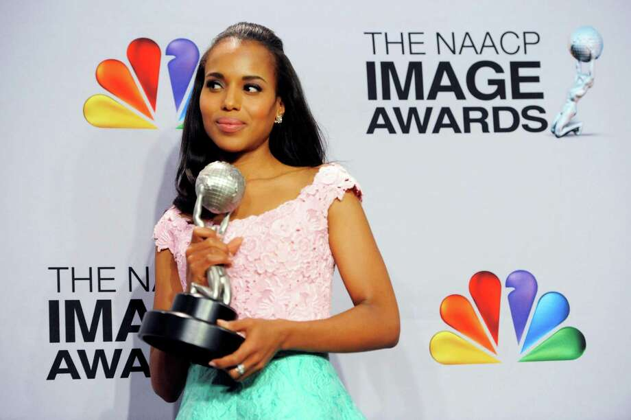 "Kerry Washington poses backstage with the award for outstanding actress in a drama series for ""Scandal""  at the 44th Annual NAACP Image Awards at the Shrine Auditorium in Los Angeles on Friday, Feb. 1, 2013. (Photo by Chris Pizzello/Invision/AP) Photo: Chris Pizzello"