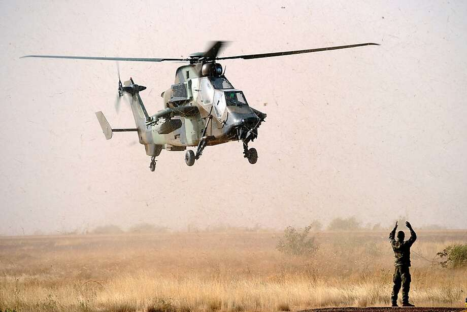 A Tiger helicopter lands at the Mopti airport, in Sevare, on February 2, 2013. President Francois Hollande visits Mali today as French-led troops work to secure the last Islamist stronghold in the north after a lightning offensive against the extremists.  Photo: Pascal Guyot, AFP/Getty Images