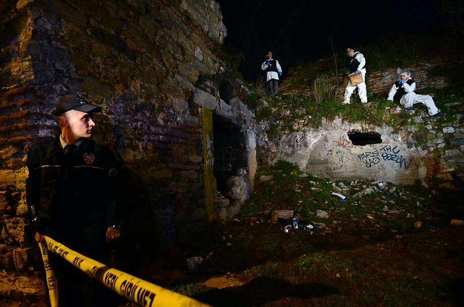 Police forensics search for missing New York City woman Sarai Sierra near the remnants of some ancient city walls in low-income district of Sarayburnu in Istanbul, Turkey, late Saturday, Feb. 2, 2013. Turkey's state-run news agency said that she has been found dead in Istanbul and police have detained nine people in connection with the case. Sierra, a 33-year-old mother of two, went missing while vacationing alone in Istanbul. Her body was discovered late Saturday amid the city walls. Photo: Associated Press