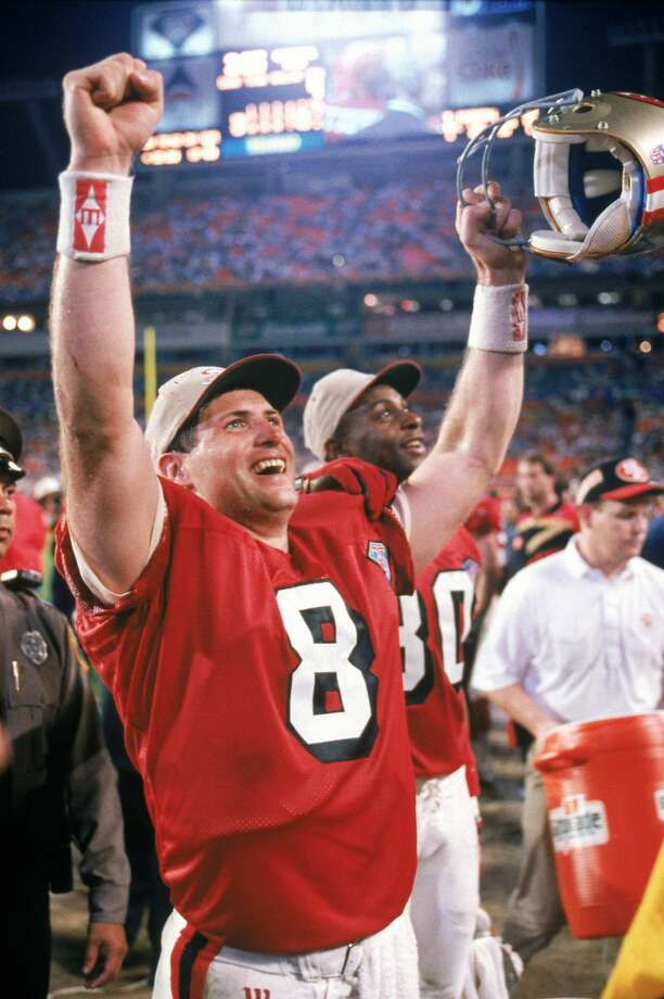 MIAMI - JANUARY 29:  Quarterback Steve Young #8 of the San Francisco 49ers celebrates following their Super Bowl XXIX against the San Diego Chargers at Joe Robbie Stadium on January 29, 1995 in Miami, Florida. The 49ers won 49-26. (Photo by George Rose/Getty Images) Photo: George Rose