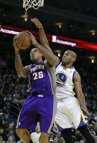 Phoenix Suns' Shannon Brown (26) goes up for a shot against Golden State Warriors' Jarret Jack (2) in the first half of an NBA basketball game Saturday, Feb. 2, 2013, in Oakland, Calif. (AP Photo/Ben Margot) Photo: Ben Margot, Associated Press