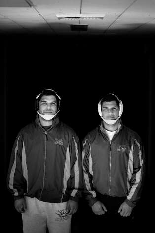 Brothers Zach Jimenez, 21 and Isaiah Jimenez, 22, on January 29, 2013 in San Francisco, Calif. wrestler at San Francisco State University. Isaiah is 17 months older than his brother. Photo: Mike Kepka, The Chronicle / ONLINE_YES