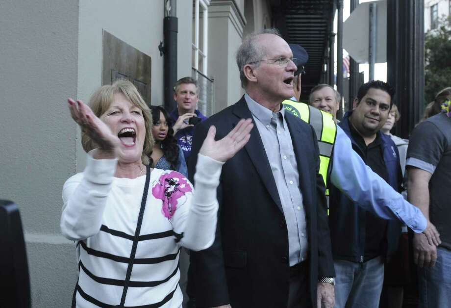 The parents of coaches Jim and John Harbaugh greet Super Bowl fans in New Orleans. Photo: Vivien Killilea, Getty Images For Starter / 2013 Getty Images