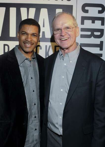 Jack Harbaugh, father of the two coaches, attends the Starter Parlor party with Victor Kelly.