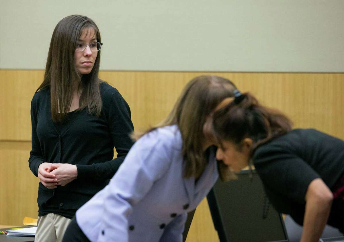 Jodi Arias stands next to her lawyers at her trial, Thursday, Jan. 31, 2013 in Phoenix. Jodi Arias is accused of fatally shooting and stabbing Travis Alexander in June 2008 at his Mesa home.