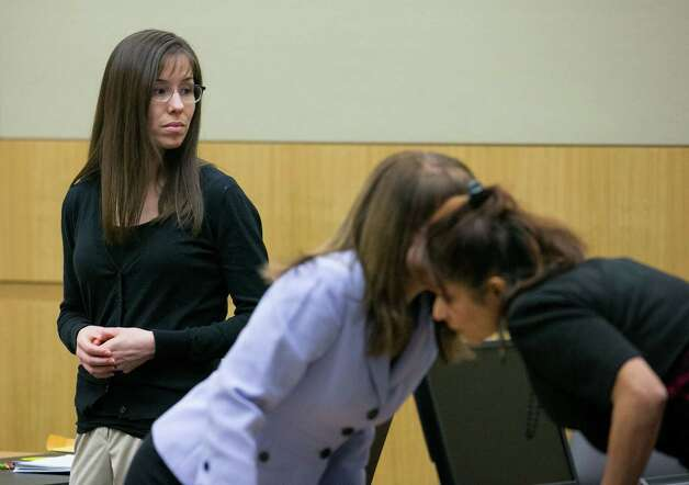 Jodi Arias stands next to her lawyers at her trial, Thursday, Jan. 31, 2013 in Phoenix. Jodi Arias is accused of fatally shooting and stabbing Travis Alexander in June 2008 at his Mesa home. Photo: AP