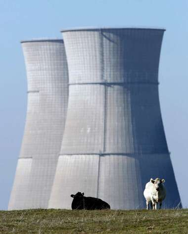 The cooling towers of the Sacramento Municipal Utility District's Rancho Seco Nuclear Power Plant loom over cattle grazing in a field, near Herald, Calif., Friday. A federal court has awarded nearly $35 million to the SMUD because of the federal governments failure to build a permanent home to store nuclear waste. The utility had filed suit in the U.S. Court of Federal Claims, seeking to recover $80 million in payments it was required to make from 1992 to 2009 to eventually house nuclear waste from the closed Rancho Seco plant. Photo: AP