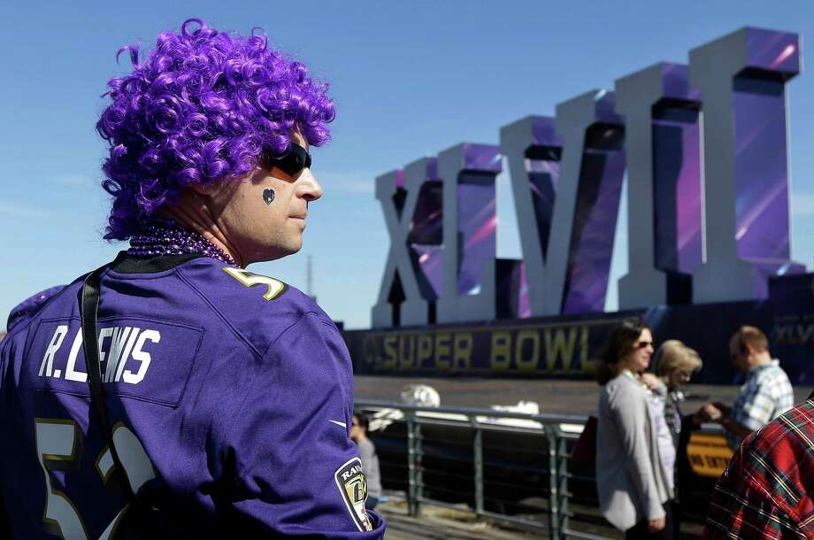 Baltimore Ravens fan Cal Wheaton waits for kickoff on Sunday. Photo: Jeff Chiu, Associated Press / AP