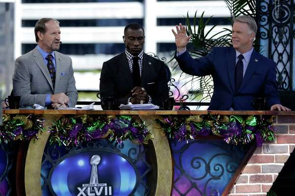 NEW ORLEANS, LA - FEBRUARY 03:  CBS sports TV analyst Bill Cowher, Shannon Sharpe and Boomer Esiason during Super Bowl XLVII at the Mercedes-Benz Superdome on February 3, 2013 in New Orleans, Louisiana.
