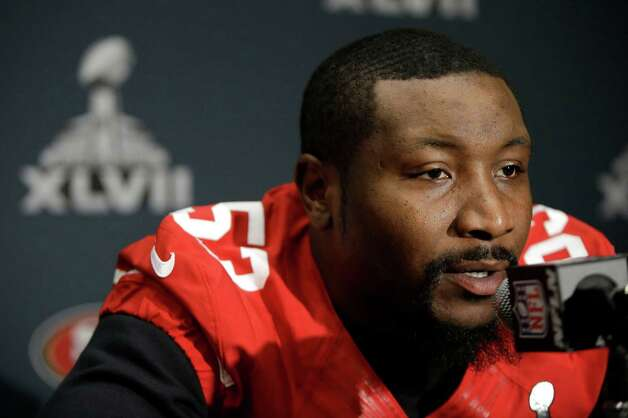San Francisco 49ers inside linebacker NaVorro Bowman talks with reporters on Thursday, Jan. 31, 2013, in New Orleans. The 49ers are scheduled to play the Baltimore Ravens in the NFL Super Bowl XLVII football game on Feb. 3. Photo: Mark Humphrey