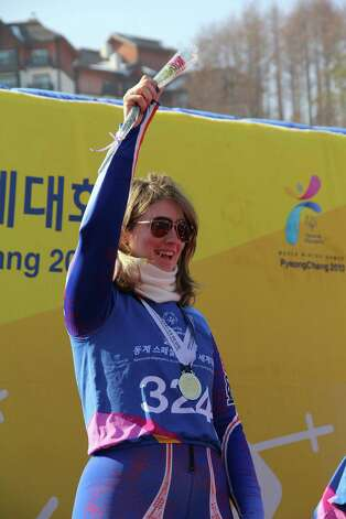 Ski racer Emily Stephen, 28, of Saratoga Springs, won a gold medal in the Super G at the Special Olympics World Games in South Korea Saturday after shattering her qualifying time by five seconds. (PHOTO COURTESY OF STEPHEN FAMILY)
