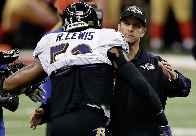 Baltimore Ravens linebacker Ray Lewis, left, prepares to embrace Baltimore Ravens head coach John Harbaugh before the NFL Super Bowl XLVII football game against the San Francisco 49ers, Sunday, Feb. 3, 2013, in New Orleans. (AP Photo/Elise Amendola) Photo: Elise Amendola, Associated Press / AP