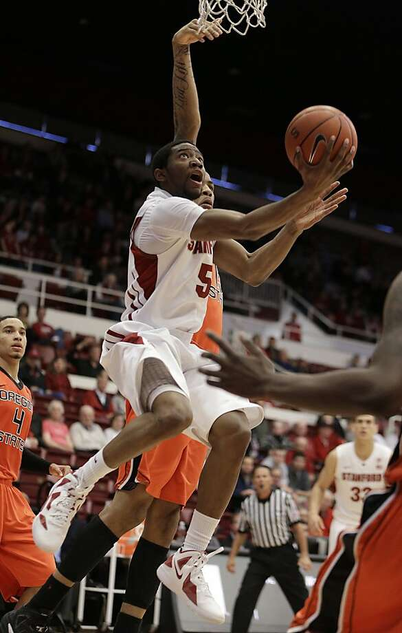 Stanford's Chasson Randle (5) lays up a shot against Oregon State during the first half of an NCAA college basketball game on Sunday, Feb. 3, 2013, in Stanford, Calif. (AP Photo/Ben Margot) Photo: Ben Margot, Associated Press