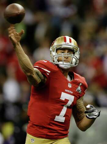San Francisco 49ers quarterback Colin Kaepernick (7) throws during practice for the NFL Super Bowl XLVII football game against the Baltimore Ravens, Sunday, Feb. 3, 2013, in New Orleans. (AP Photo/Evan Vucci) Photo: Evan Vucci, Associated Press / AP