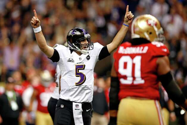 NEW ORLEANS, LA - FEBRUARY 03:  Joe Flacco #5 of the Baltimore Ravens celebrates after throwing a touchdown pass in the first quarter against the San Francisco 49ers during Super Bowl XLVII at the Mercedes-Benz Superdome on February 3, 2013 in New Orleans, Louisiana. Photo: Chris Graythen, Getty Images / 2013 Getty Images