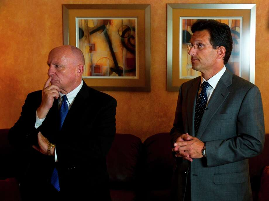 (From left) Kevin Brady, representing the 8th District of Texas in the U.S. House of Representatives and Eric Cantor, Majority Leader, U.S. House of Representatives, answer questions during a fundraising event Friday, Aug. 12, 2011, in The Woodlands. Photo: Cody Duty / © 2011 Houston Chronicle