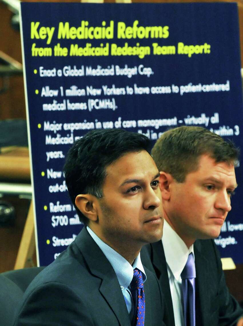 NYS Health Commissioner Nirav Shah, M.D., left, and NYS Medicaid director Jason Helgerson appear before a NYS Legislative joint budget hearing in Albany Thursday Mar. 3, 2011. (John Carl D'Annibale / Times Union)