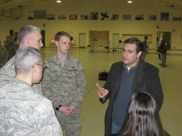 Sen. Ted Cruz chatting with troops at Aviano Air Base in Italy.