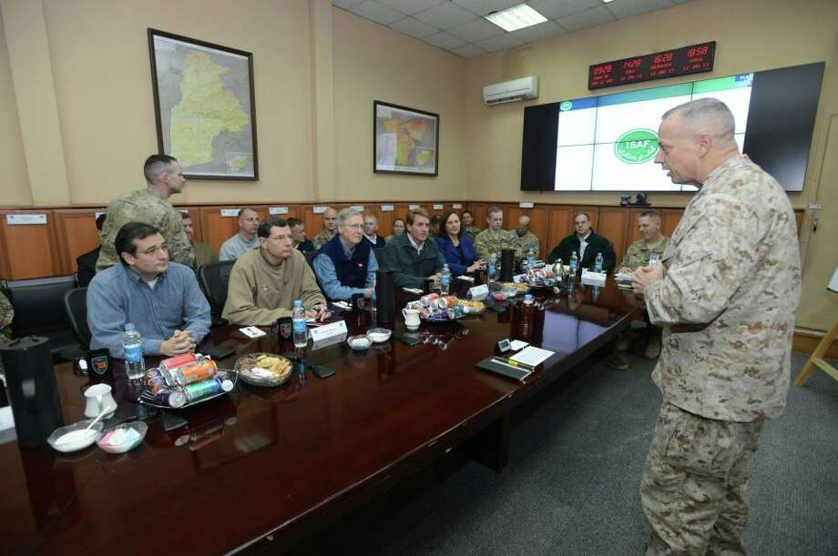 Sen. Ted Cruz and the rest of the congressional delegation are briefed by Gen. Allen, ISAF Commander, ISAF HQ.
