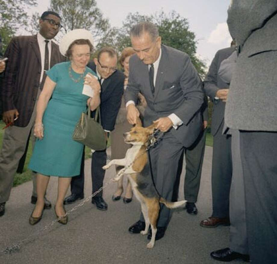 LBJ got in trouble for pulling the ears of his dog Him.