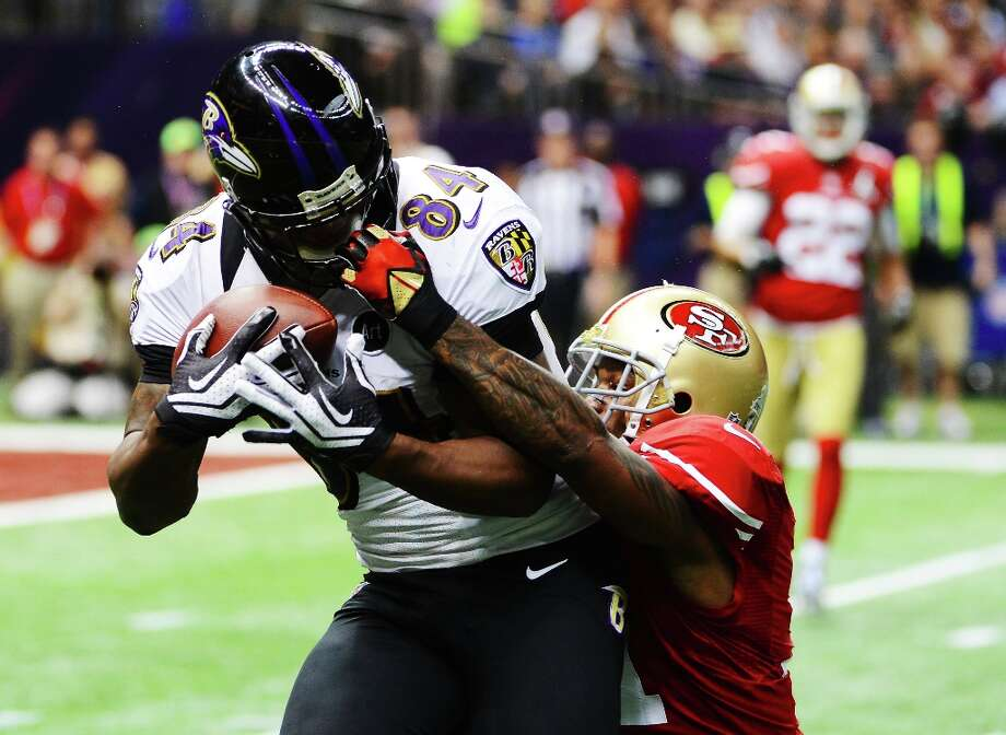 NEW ORLEANS, LA - FEBRUARY 03:  Donte Whitner #31 of the San Francisco 49ers commits a face mask penalty in the second quarter against Ed Dickson #84 of the Baltimore Ravens during Super Bowl XLVII at the Mercedes-Benz Superdome on February 3, 2013 in New Orleans, Louisiana. Photo: Harry How, Getty Images / 2013 Getty Images