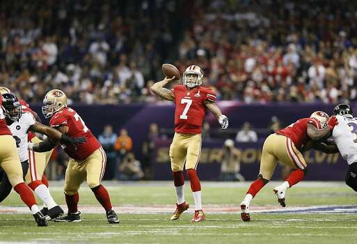 San Francisco 49ers Quarterback Colin Kaepernick (7) throws downfield during Super Bowl XLVII between the San Francisco 49ers and the Baltimore Ravens at the Mercedes-Benz Superdome on Sunday February 3, 2013 in New Orleans, La. Photo: Michael Macor, The Chronicle