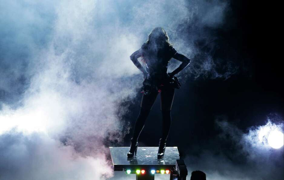Beyonce performs during the halftime show of  the NFL Super Bowl XLVII football game between the San
